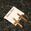 Handcast Gold Cross Earrings THUMBNAIL