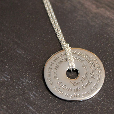 Jeremiah 29:11 Pi Disc Necklace LARGE