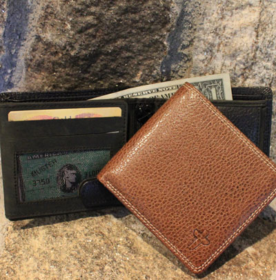 Leather Hipster Men's Wallet - Black Leather