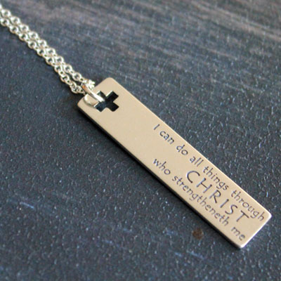 Philippians 4:13 Sterling Silver Necklace