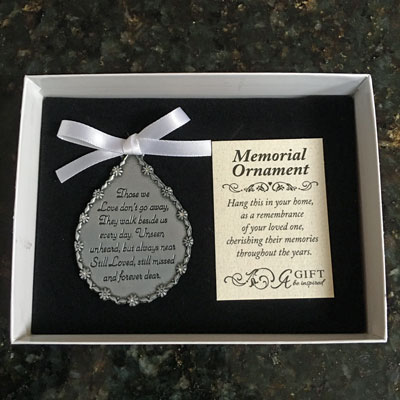 Those We Love Don't Go Away - Teardrop Memorial Ornament with Stones and Ribbon