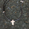Eternity Cross Necklace - Adjustable Leather and Silver