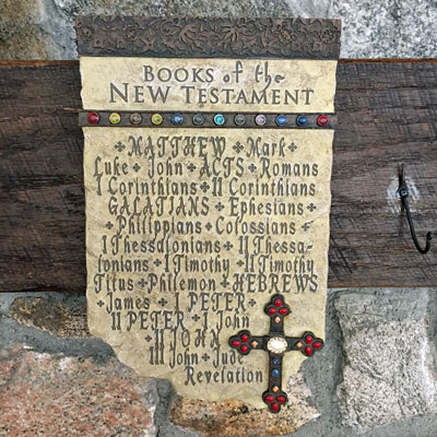 "12"" Wall Plaque with New Testament Books LARGE"