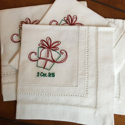 Christmas Gift Tea Napkins - Set of Four LARGE