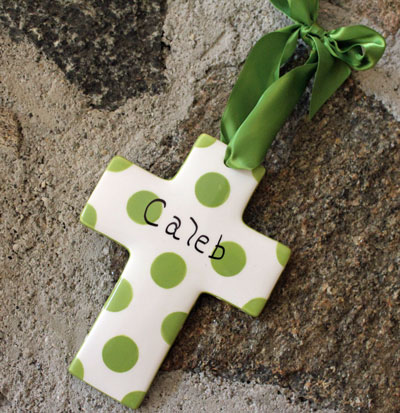 Lime Green Polka Dotted Cross LARGE