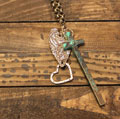 Long Verdi Cross Heart Charm Necklace - Blessed