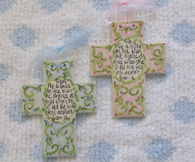 Train Up a Child Ceramic Wall Cross LARGE