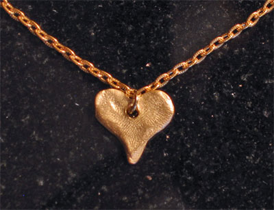 Handcast Gold Heart Necklace