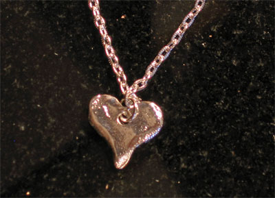 Handcast Silver Heart Necklace LARGE