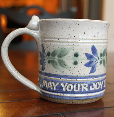 "Scripture Pottery Small Mug... ""May your joy..."""