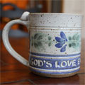 "Scripture Pottery Small Mug... ""God's Love endures..."""