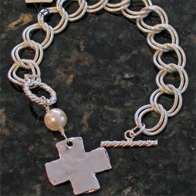 Handcast Silver Cross with White Pearl Bracelet