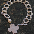 Handcast Silver Cross with White Pearl Bracelet_THUMBNAIL