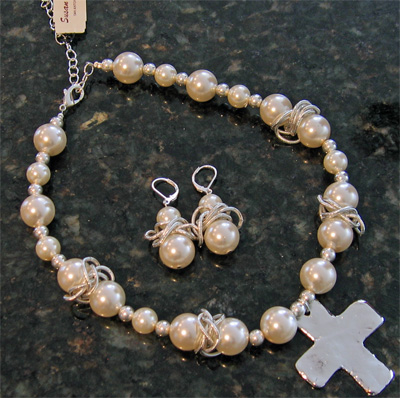 Handcast Silver Cross White Pearl Necklace & Earring_LARGE