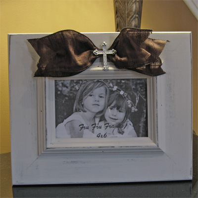 Cream Fru Fru Frame with Brown Sash and Rhinestone Cross LARGE