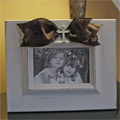 Cream Fru Fru Frame with Brown Sash and Rhinestone Cross THUMBNAIL
