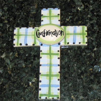 Confirmation Ceramic Wall Cross - Blue LARGE