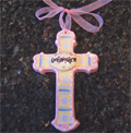 Confirmation Ceramic Wall Cross - Pink/Lavender THUMBNAIL
