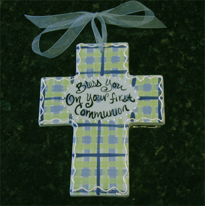 Bless You On Your First Communion Ceramic Wall Cross - Blue LARGE