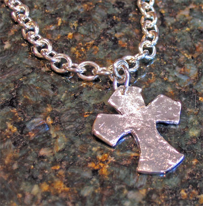 Handcast Silver Urban Cross Necklace LARGE