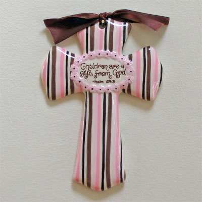 'Children are a Gift...' Pink/Brown Cross LARGE