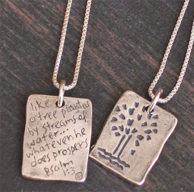 Sterling Silver Psalm 1:3 Necklace - Prosper LARGE