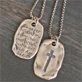 'Saved' - John 3:16 Sterling Silver Tag THUMBNAIL