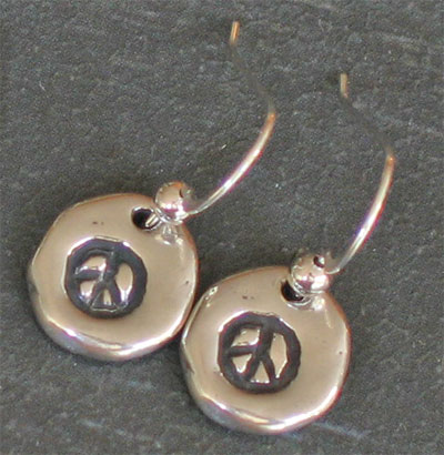 His Peace Sterling Silver Earrings on Shepherd's Hook LARGE