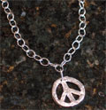 Handcast Silver Peace Sign Necklace