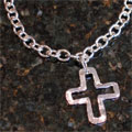 Handcast Silver Open Cross Necklace
