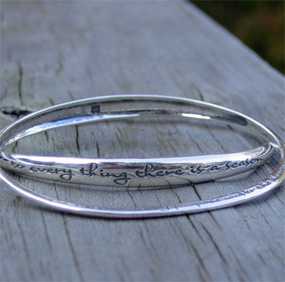 Ecclesiastes 3:1 Sterling Silver Contra Twist Bangle