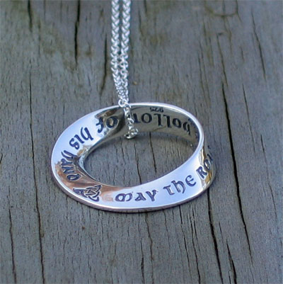 'May the Road Rise up to Meet You' Mobius Necklace LARGE