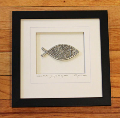 Cynthia Webb Framed Pewter Ornament - I will make you fisher's of men LARGE
