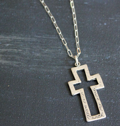 It is Well... Sterling Silver Cross Necklace LARGE