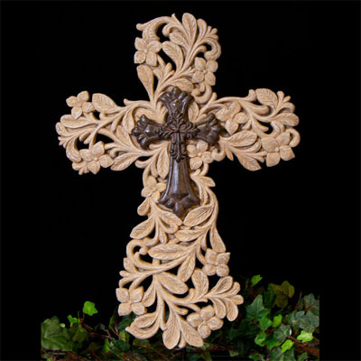 "Carved 14"" Resin Cross"
