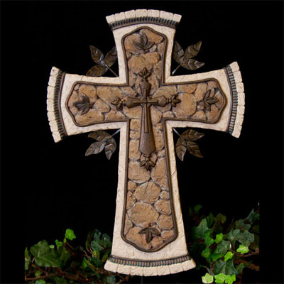 "Tan 14"" Resin Cross with Metal"