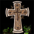 "Tan 14"" Resin Cross with Metal THUMBNAIL"