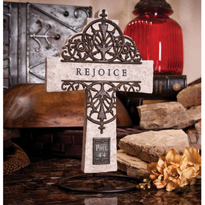 "10"" Wall Cross - Rejoice - Philippians 4:4 LARGE"