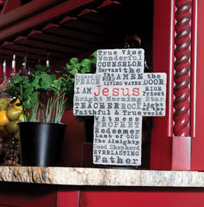 Contemporary Cross with Names of Jesus