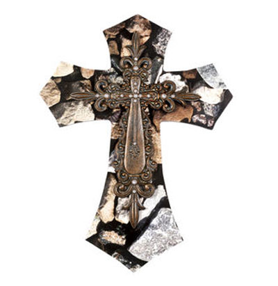 "19"" Layered Wall Cross - Rock"