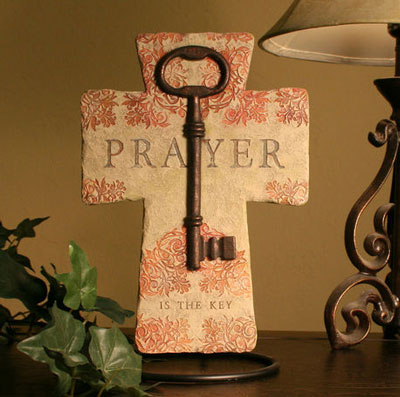 "Prayer is the Key 10"" Wall Cross LARGE"