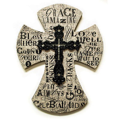 "14"" Layered Wall Cross - Burlap with Words LARGE"
