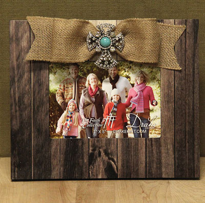 Wooden Frame with Bow and Cross LARGE