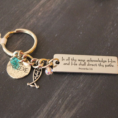 In All thy Ways Key Chain with Charms LARGE