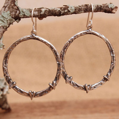 Love All Around Sterling Silver Hoop Earrings with Hearts LARGE