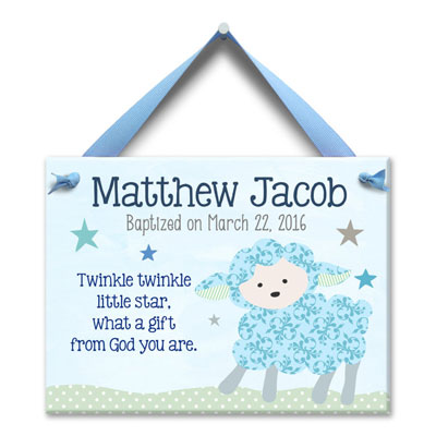 Personalized Baptism Wall Tile - Baby Lamb - Blue MAIN