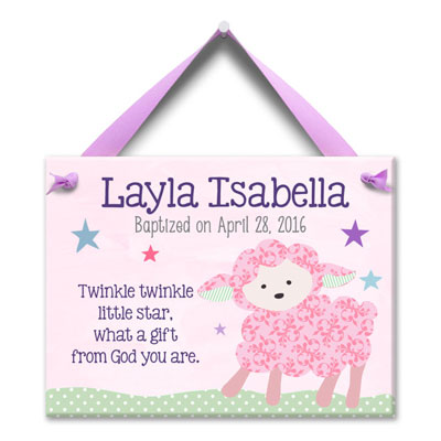 Personalized Baptism Wall Tile - Baby Lamb - Pink