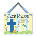 Personalized Baptism Wall Tile - Cross - Blue THUMBNAIL