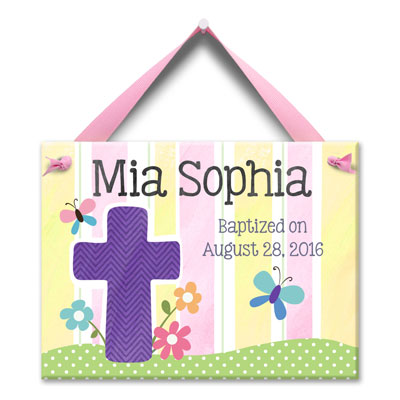 Personalized Baptism Wall Tile - Cross - Lilac LARGE