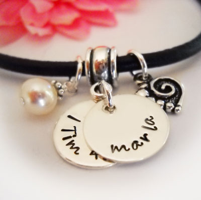 Double Disc Personalized Necklace on Leather with Heart